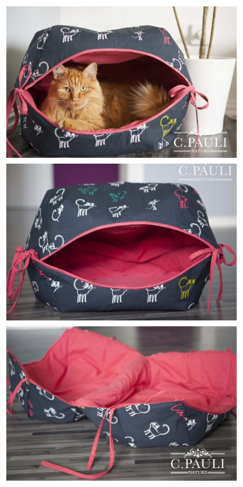 DIY Fabric Cat Cave Free Sewing Pattern + Tutorial