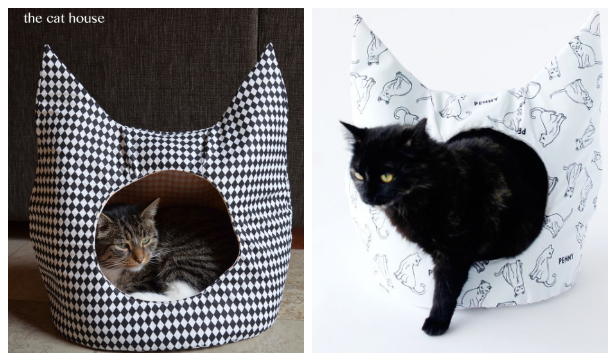 DIY Fabric Cat House Free Sewing Pattern