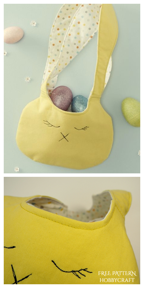 DIY Fabric Bunny Treat Bag Free Sewing Pattern