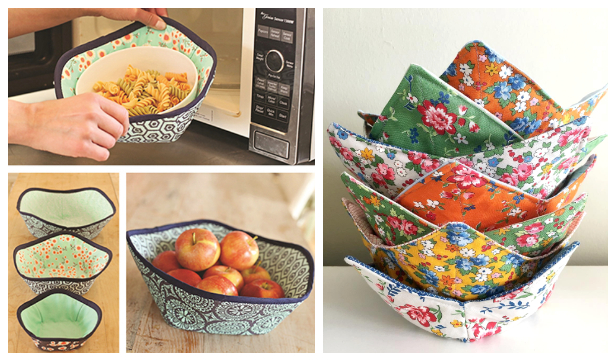 DIY Fabric Microwave Bowl Potholder Free Sewing Patterns & Paid