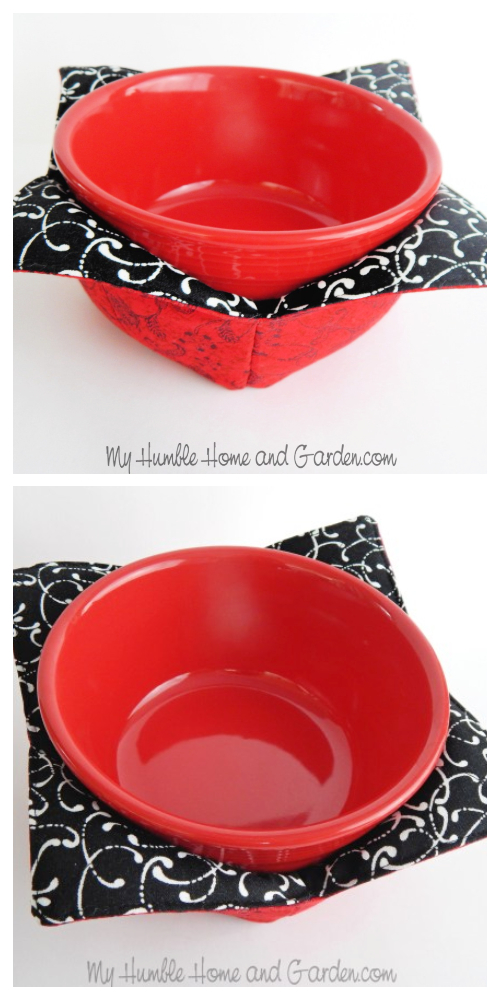 Microwave Bowl Cozy Free Sewing Pattern and Tutorial