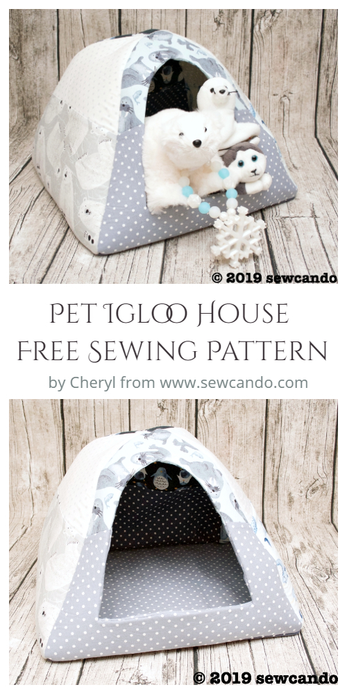 DIY Fabric Pet Igloo House Free Sewing Pattern