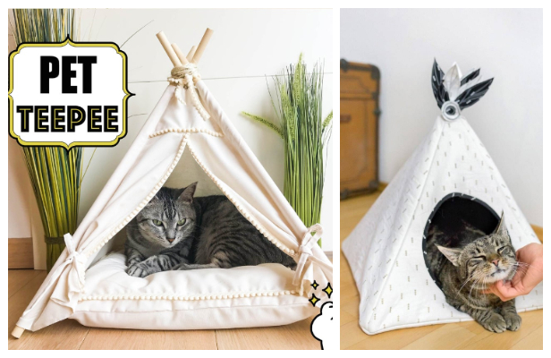 DIY Fabric Pet Teepee House Free Sewing Patterns