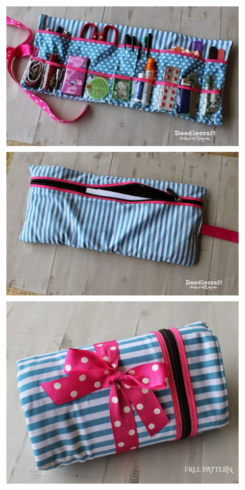 DIY Fabric Roll Up Glove-Box Caddy Free Sewing Pattern