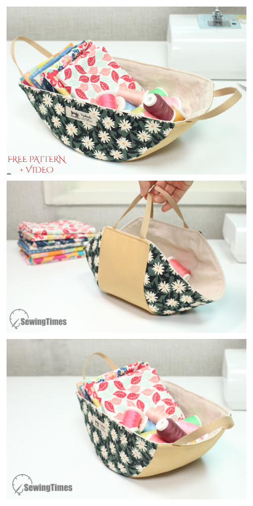 DIY Fabric Swing Storage Basket Free Sewing Pattern + Video