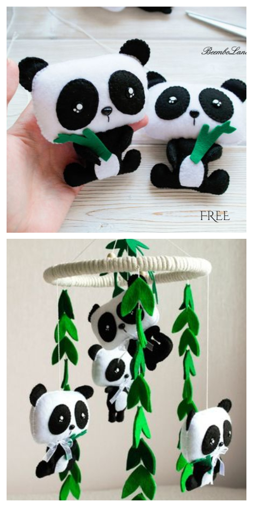 DIY Felt Panda Mobile Free Sewing Pattern & Tutorial