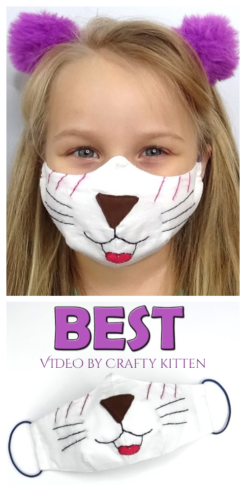 DIY Fun Fabric Cat Face Mask Free Sewing Pattern + Video