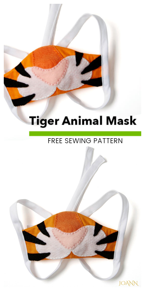 DIY Fabric Tiger Animal Mask Free Sewing Pattern