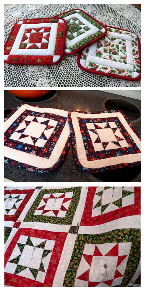 North Star Quilt Potholder Free Sewing Pattern
