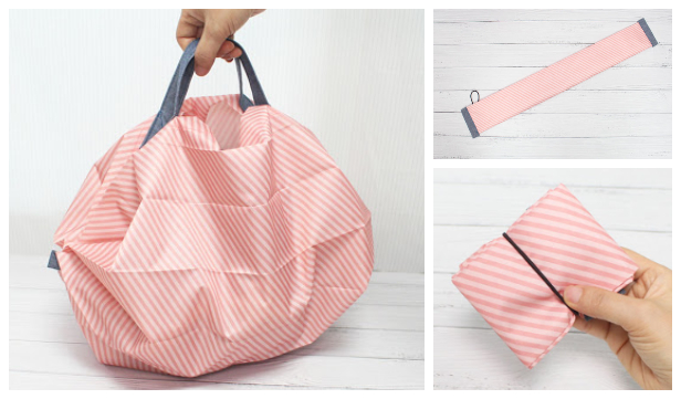 DIY Fabric Compact Shopping Bag Free Sewing Pattern + Video