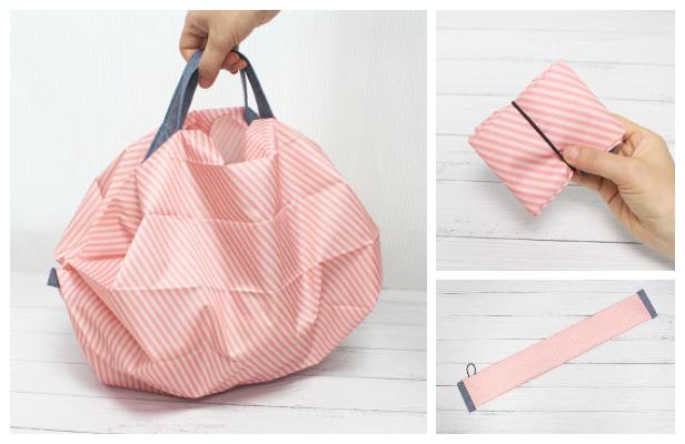 DIY Fabric Compact Shopping Bag Free Sewing Pattern + Video