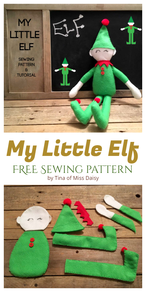 DIY Fabric Christmas Elf Doll Free Sewing Pattern & Tutorial