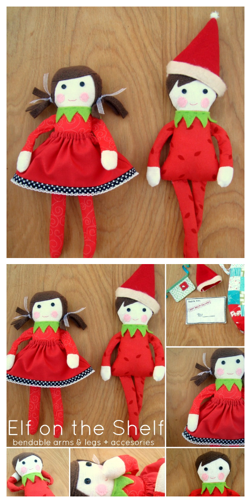 DIY Fabric Christmas Elf on Shelf Doll Free Sewing Pattern & Tutorial