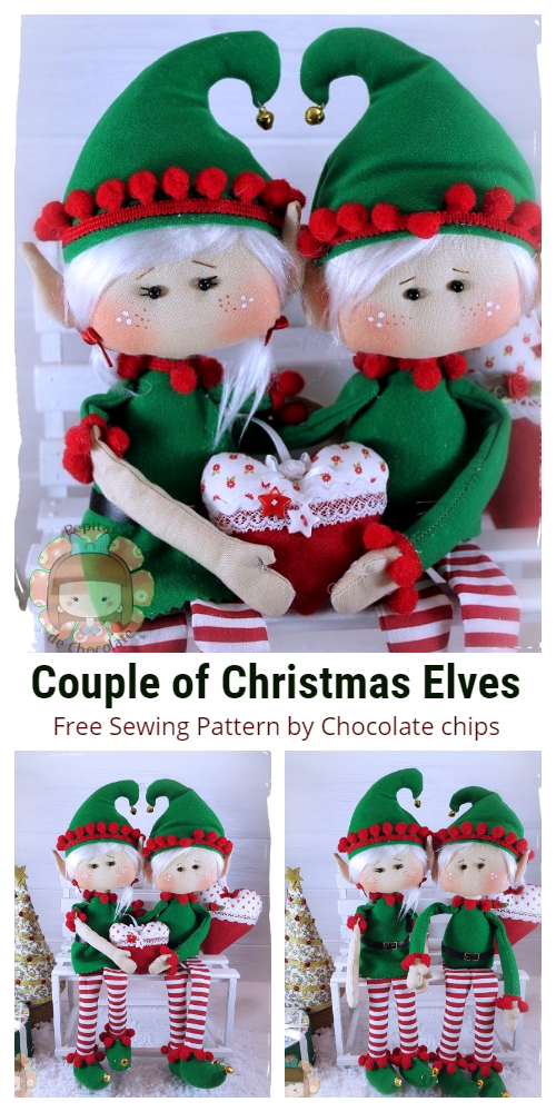DIY Fabric Couple of Christmas Elves Doll Free Sewing Pattern & Tutorial