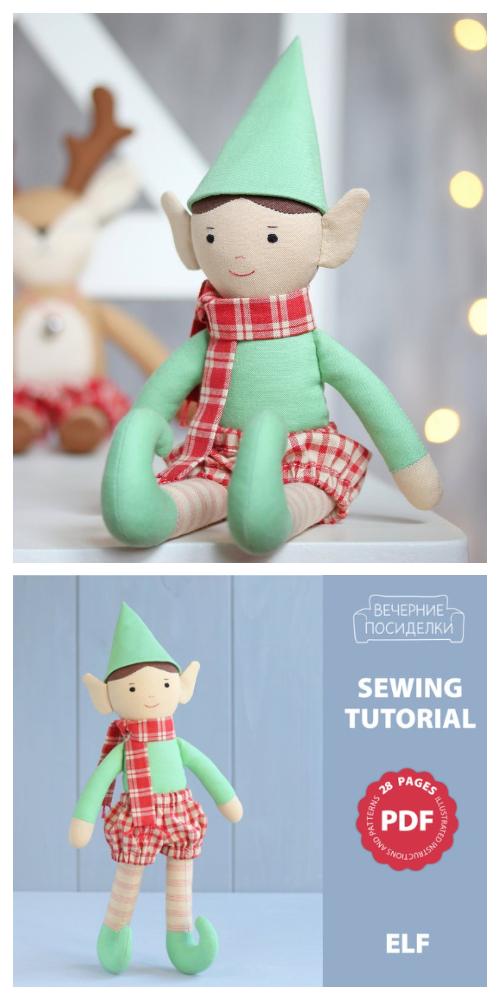 DIY Felt Christmas Elf Doll Sewing Patterns
