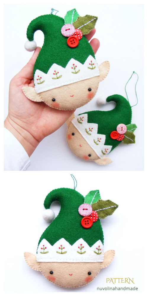 DIY Felt Christmas Elf Ornament Sewing Patterns
