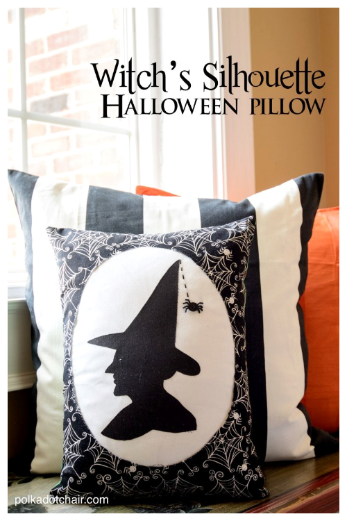 DIY Fabric Halloween Witch's Silhouette Pillow Free Sewing Patterns