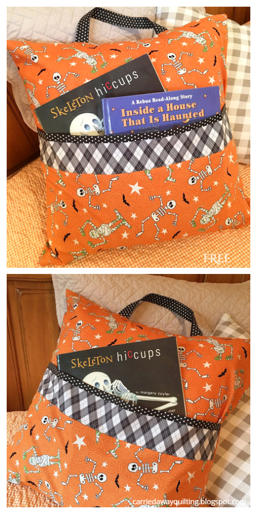 DIY Fabric Halloween Reading Pillow Free Sewing Patterns
