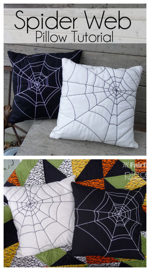 DIY Fabric Halloween Spider Wed Pillow Free Sewing Patterns