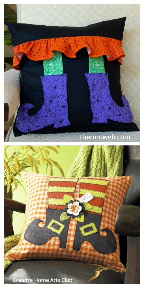 DIY Fabric Halloween Witch Leg Pillow Free Sewing Patterns