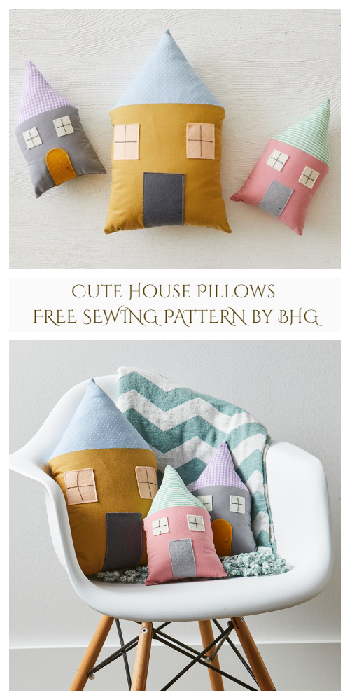 DIY Fabric Cute House Pillow Free Sewing Patterns