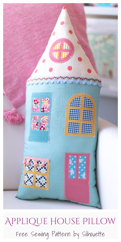 DIY Fabric Applique House Pillow Free Sewing Pattern & Tutorial