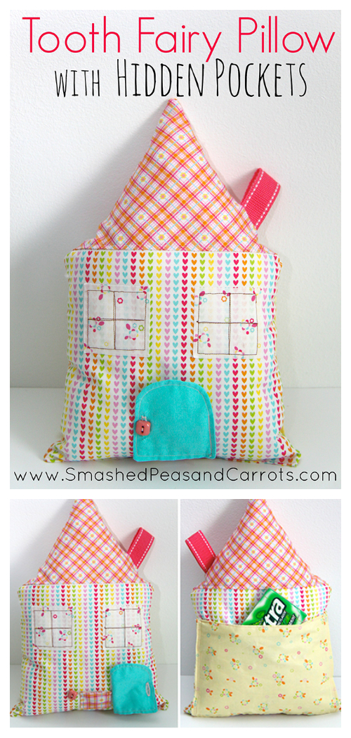 DIY Fabric Tooth Fairy Pillow with Hidden Pockets Free Sewing Patterns