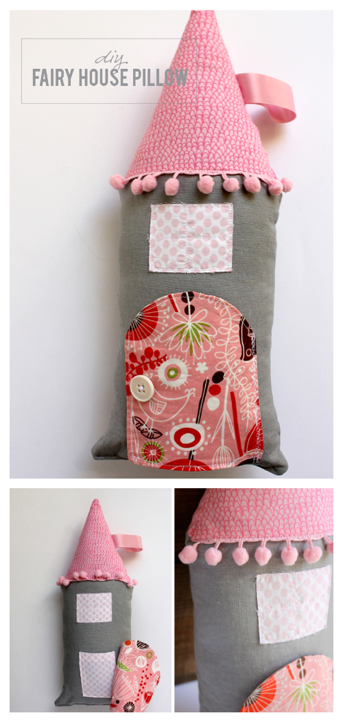 DIY Fabric Fairy House Pillow Free Sewing Patterns