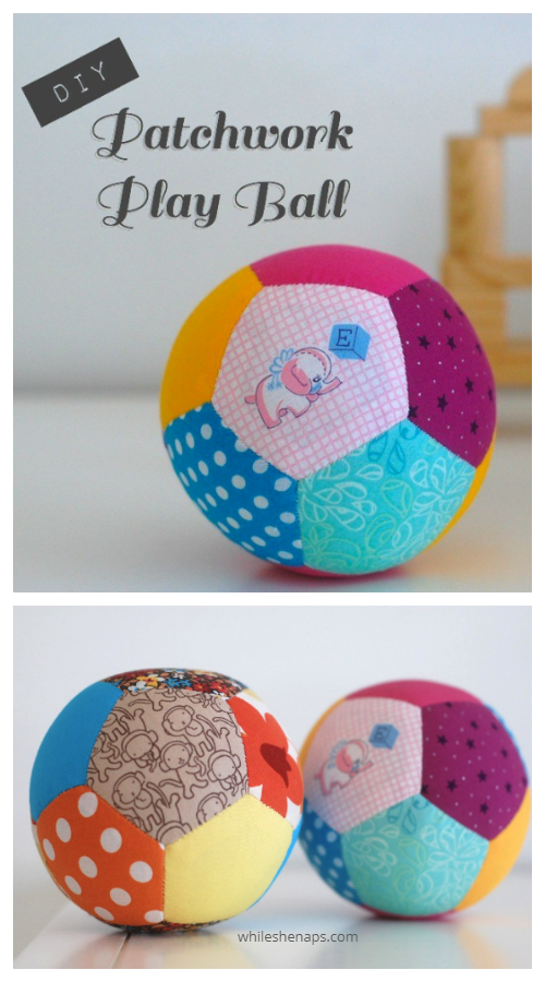 DIY Fabric Patchwork Play Ball Free Sewing Pattern & Tutorial