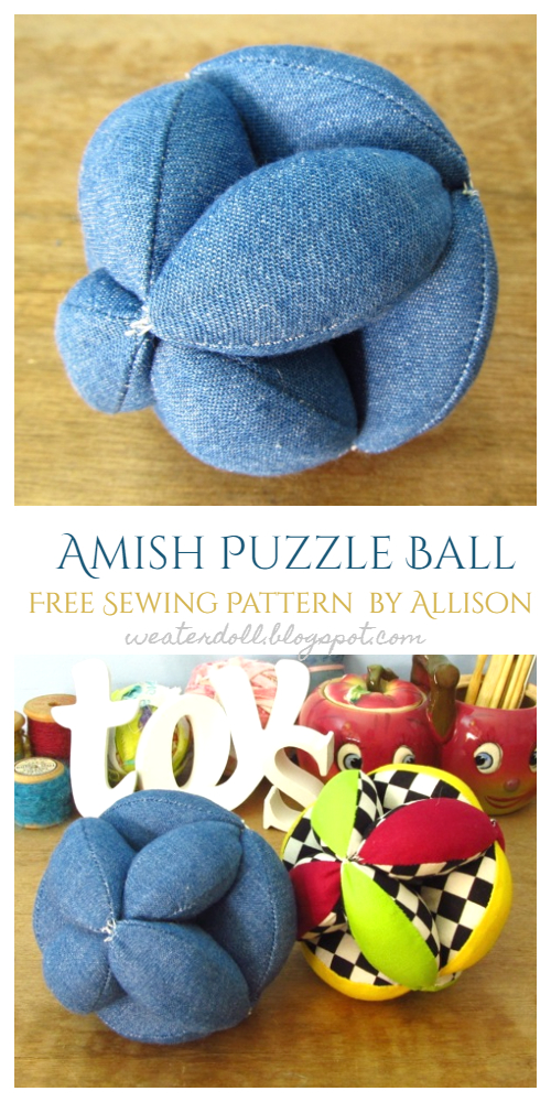 DIY Fabric Amish Puzzle Ball Free Sewing Pattern & Tutorial