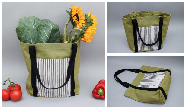 Easy Fabric Tote Bag Free Sewing Pattern