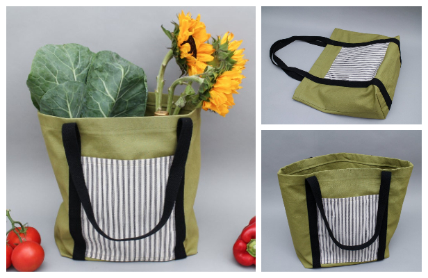Easy Fabric Tote Shopping Bag Free Sewing Pattern