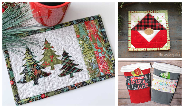 Patchwork Christmas Mug Rug Free Sewing Patterns