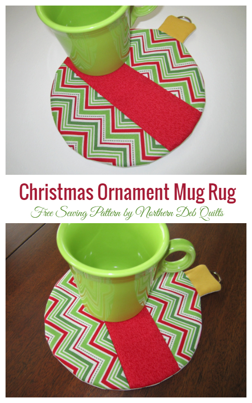 DIY Fabric Christmas Ornament Mug Rug Free Sewing Patterns