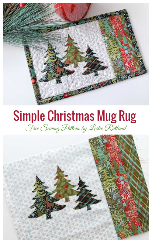 DIY Simple Christmas Mug Rug Free Sewing Patterns