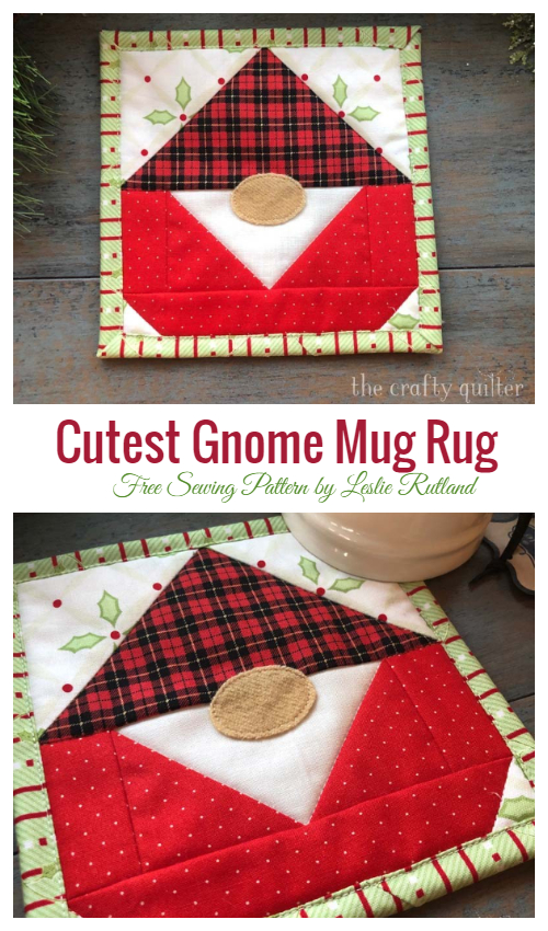 DIY Fabric Christmas Gnome Mug Rug Free Sewing Patterns