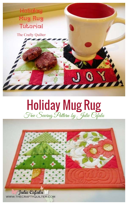 DIY Fabric Mini Merry Gift Boxes Mug Rug Free Sewing Patterns
