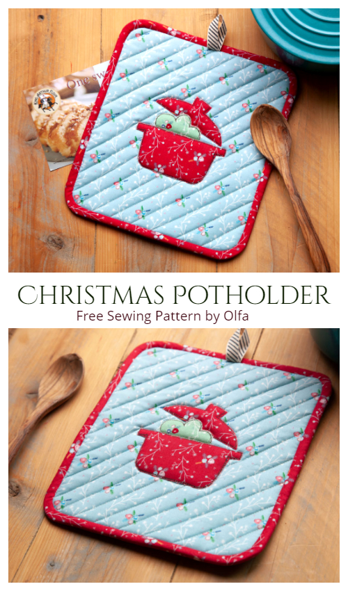 DIY Fabric Quilt Christmas Pot Holder Free Sewing Patterns