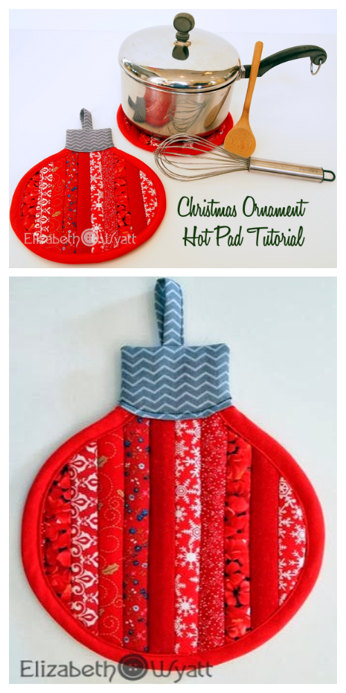DIY Fabric Stripey Christmas Ornament Hot Pad Free Sewing Patterns
