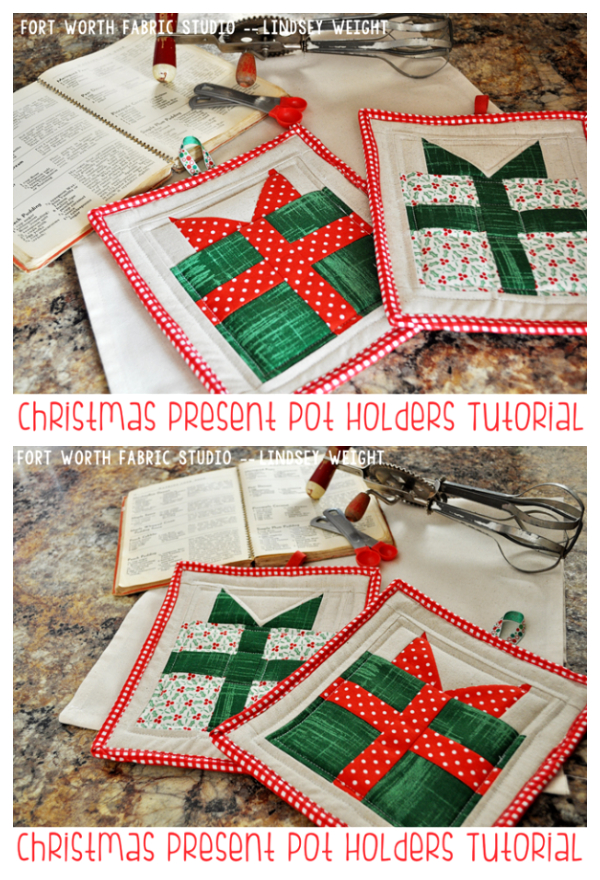 DIY Fabric Christmas Present Pot Holder Free Sewing Patterns