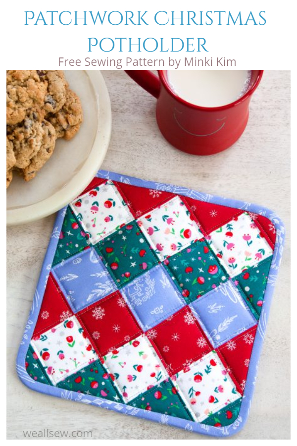 DIY Fabric Patchwork Christmas Pot Holder Free Sewing Patterns
