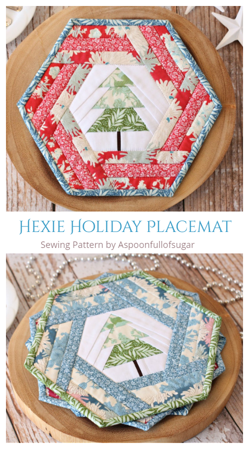 DIY Fabric Hexie Holiday Placemat Sewing Patterns