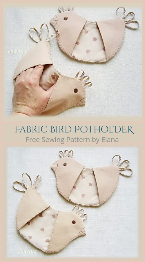 DIY Fabric Bird Potholder Free Sewing Pattern