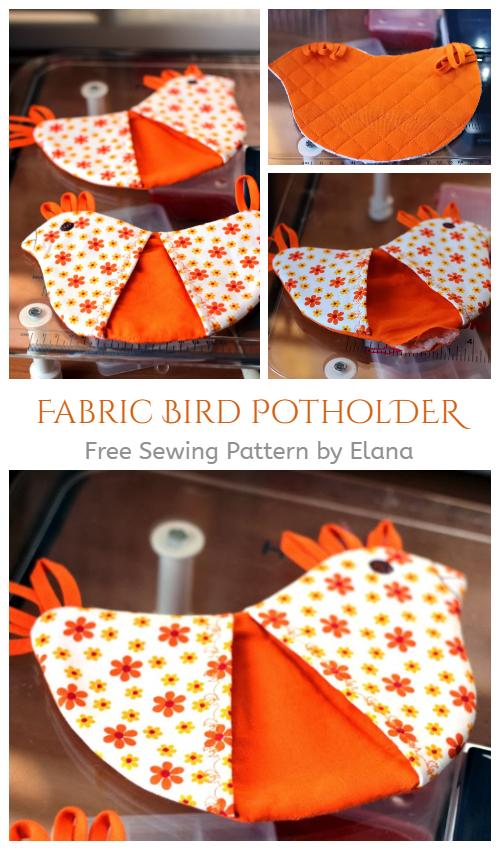 DIY Fabric Bird Potholder Free Sewing Pattern