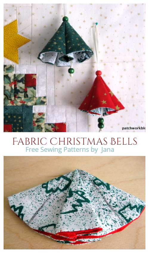 DIY Fabric Christmas Bells Free Sewing Patterns
