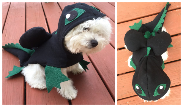 DIY Fabric Dragon Dog Costume Free Sewing Pattern