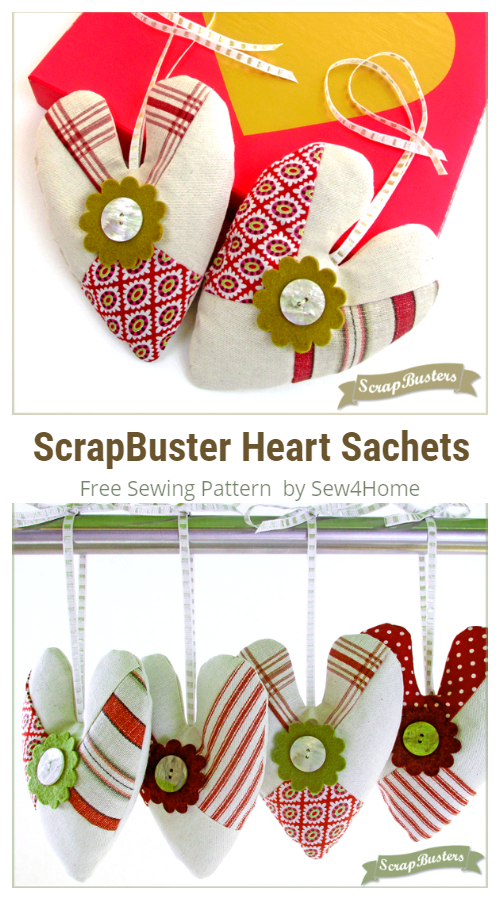 DIY Fabric ScrapBuster Heart Sachets Free Sewing Patterns