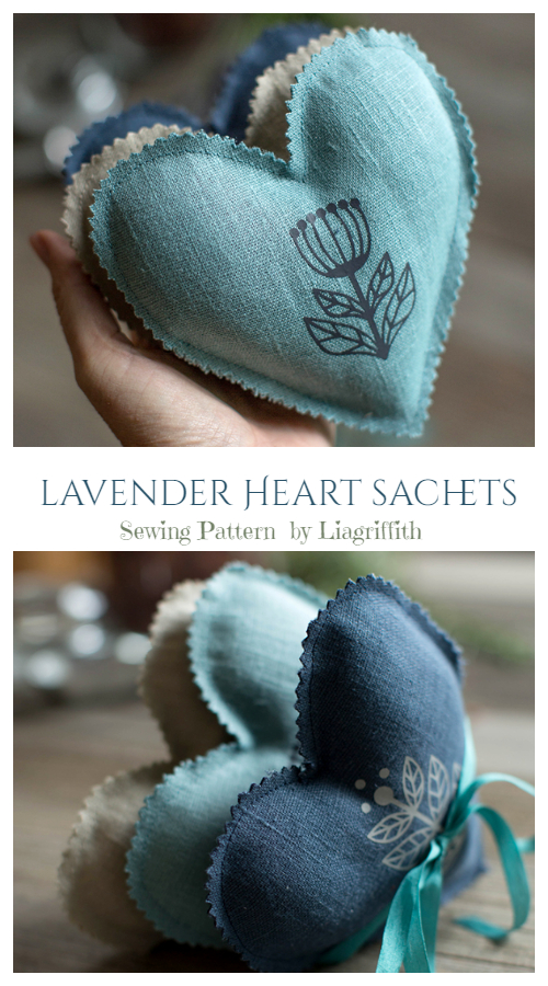 DIY Fabric Heart Lavender Sachet Free Sewing Patterns