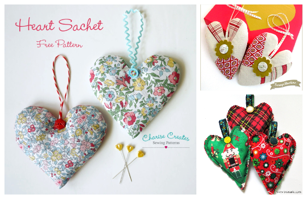 DIY Fabric ScrapBuster Heart Sachets Free Sewing Patterns