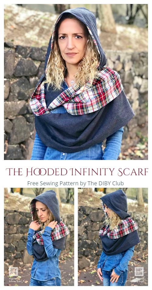 DIY Fabric Hooded Infinity Scarf Free Sewing Pattern